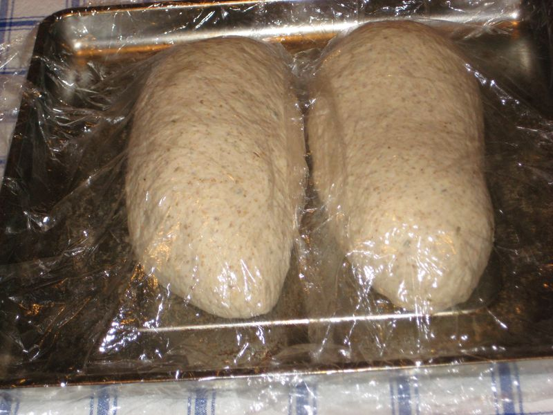 Dough is shaped and is resting for the second fermentation; which will take anywhere from 2-6 hours.